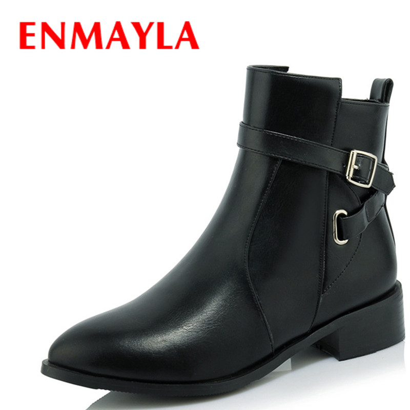 ENMAYLA Classic Black Shoes Woman Buckle Strap Autumn Winter Boots Pointed Toe Low Heels Platform Shoes Ankle Boots for Women enmayla ankle boots for women low heels autumn and winter boots shoes woman large size 34 43 round toe motorcycle boots