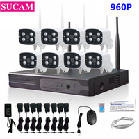 SUCAM 8CH CCTV Kit Wireless 960P NVR System 1.3MP Outdoor IP Camera P2P Wifi Video Surveillance Camera Set for Home Security