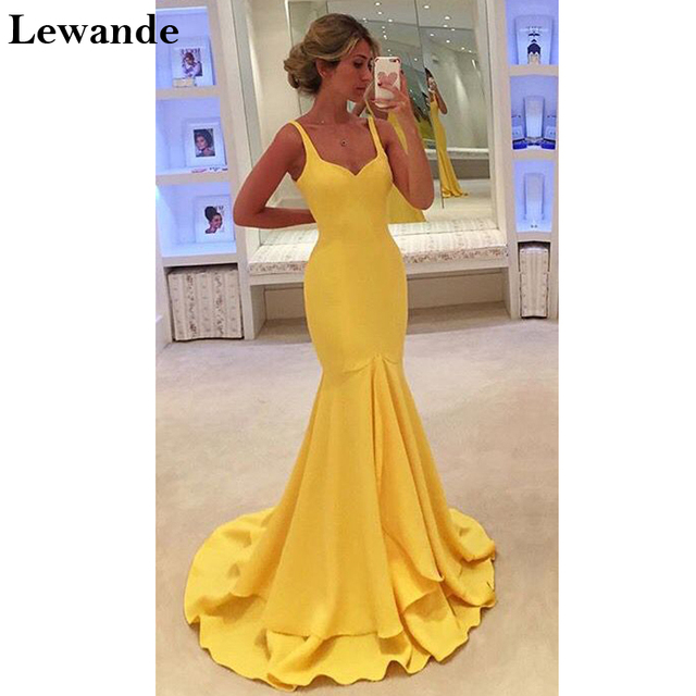 Yellow Mermaid Sweetheart Prom Dress 2017 Straps Long Jersey Pageant ...