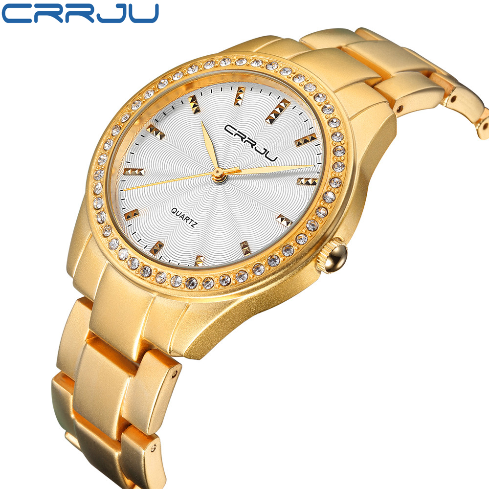 Famous brand new crrju watches women ladies crystal diamond quartz watch luxury gold wrist for Watches brands for lady