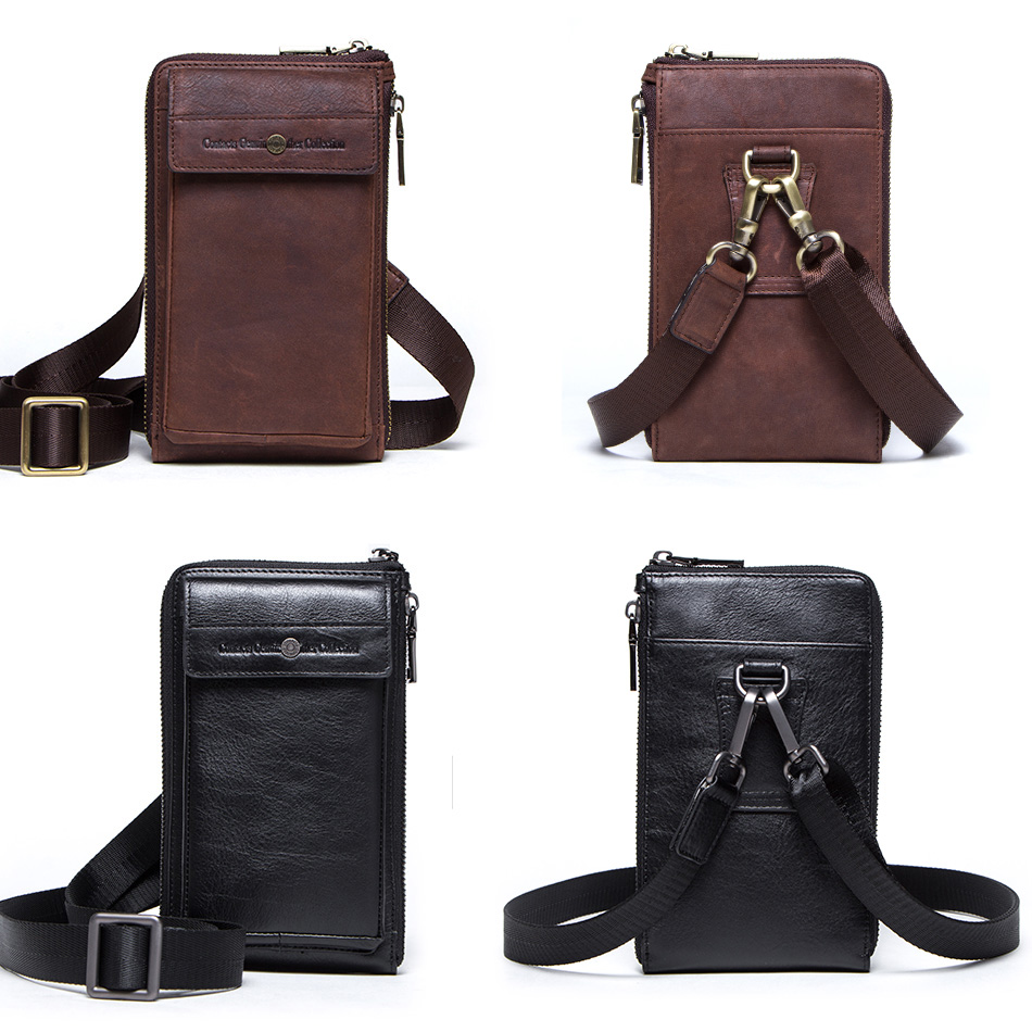 CONTACT'S genuine leather men shoulder bag for cell phone with card holders male vintage crossbody bag men's small waist packs 4