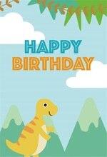 Laeacco Cartoon Dinosaur Happy Birthday Baby Party Photographic Backdrops Customized Photography Background For Photo Studio
