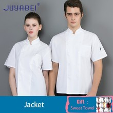 Solid Color Chef Uniform Short Sleeve Summer Unisex Breathable Kitchen Cooking Jacket Restaurant Cafe Overalls Free Scarf Gift
