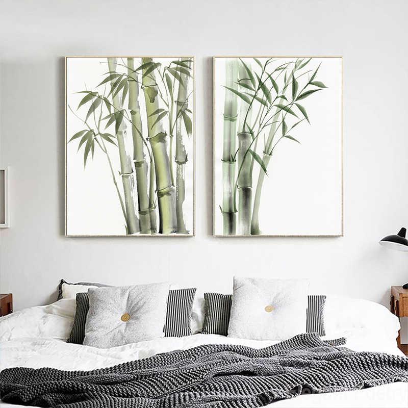 대나무 잎 포스터 선 장식 새로운 중국어 언리얼 추상 잉크 그림 인쇄 벽 예술 캔버스 회화 그림 홈 장식