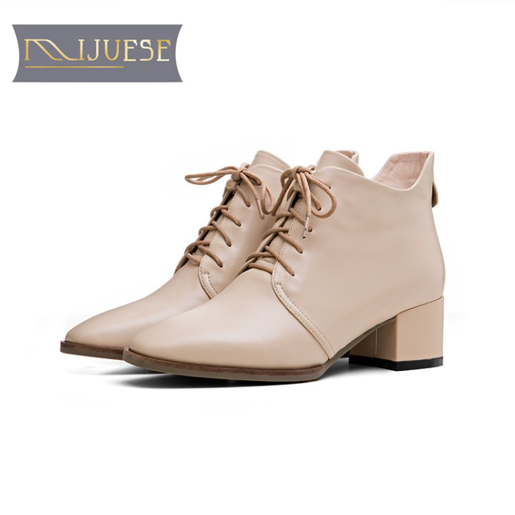 MLJUESE 2018 women boots cow leather lace up apricot color square toe high heels autumn spring ankle boots size 34- 40 ...