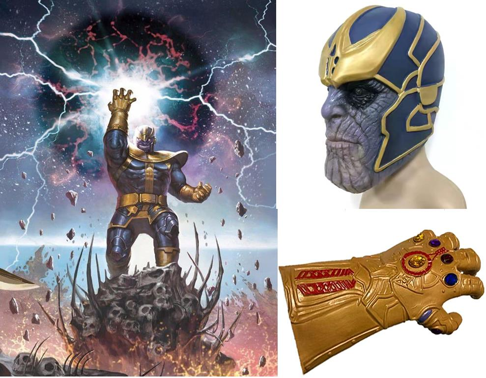 Adult Thanos Cosplay Mask Glove 2PCS Set Infinity Gauntlet Cosplay Latex Halloween Cosplay Accessory 1PCE Left Hand Glove 1 Mask