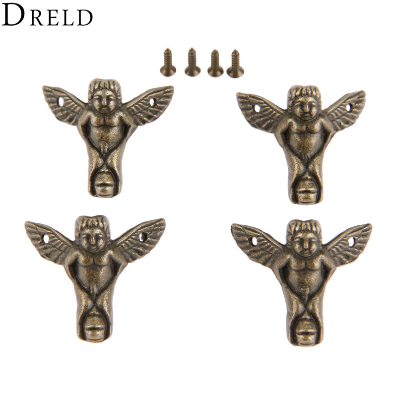 DRELD 4pcs 30*27mm Corner Bracket Wood Box Case Feet Leg Corner Protector Decorative Bracket Antique Bronze Furniture Hardware