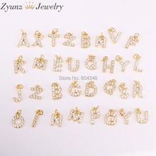 26 PCS ZYZ315 4693 אופנה מיקרו פייב מעוקב Zirconia תליוני קסמי עבור שרשראות עגילי Diy נחושת CZ מכתב הדפסה