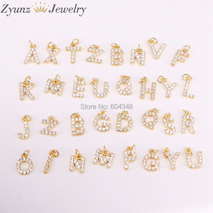 Image 1 - 26 PCS ZYZ315 4693 אופנה מיקרו פייב מעוקב Zirconia תליוני קסמי עבור שרשראות עגילי Diy נחושת CZ מכתב הדפסה