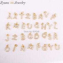 26 Uds. ZYZ315 4693 colgantes de circonia cúbica a la moda, abalorios para collares, pendientes, letras de cobre CZ Diy, hallazgos de joyería