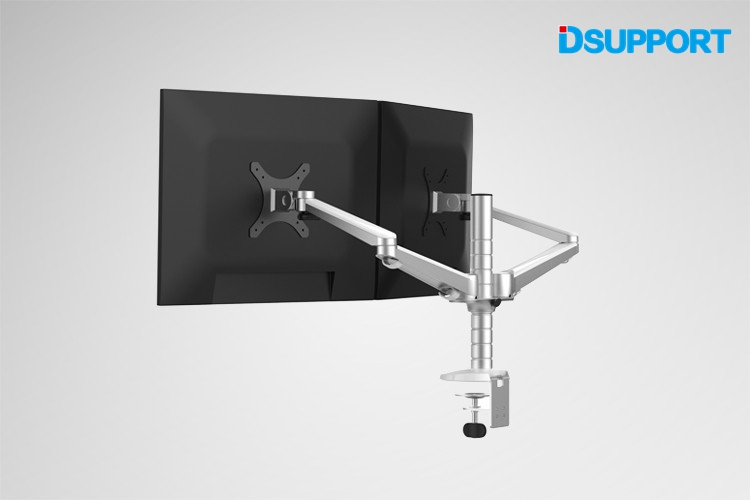 OA-4S Aluminum Alloy Desktop Double Arm Dual Monitor Holder Full Motion LED Screen Mount Arm Rotary Base Stand