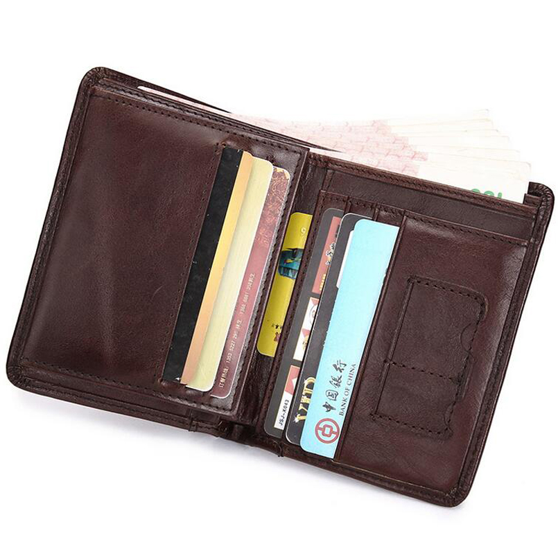 Classical Men Wallets Genuine Leather Short Wallet Fashion Zipper Brand Purse Card Holder Wallet Man With Coin Bag