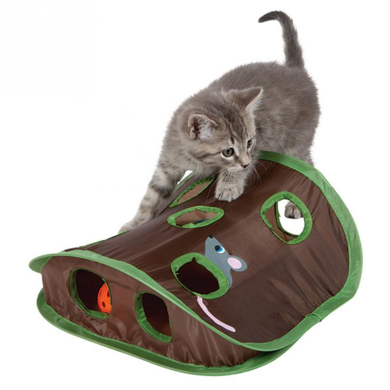 Pet Cat Mice Intelligence Play Toys Bell Tent With 9 Holes Cat Play Tunnel