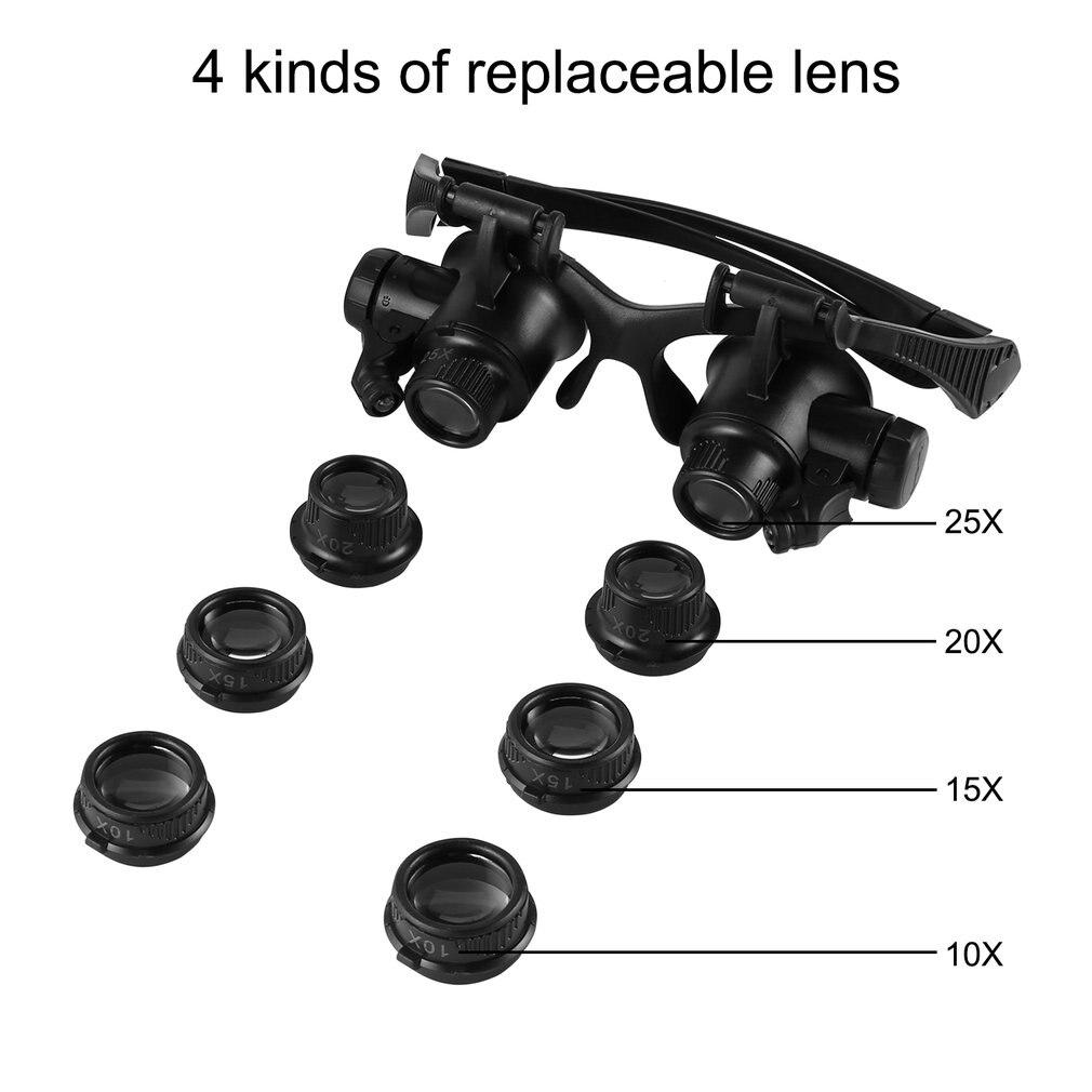 Reloj reparación lupa gafas 10X 15X 20X 25X Dual Eye joyería con 2 luces LED nueva lupa Microscopio de lente