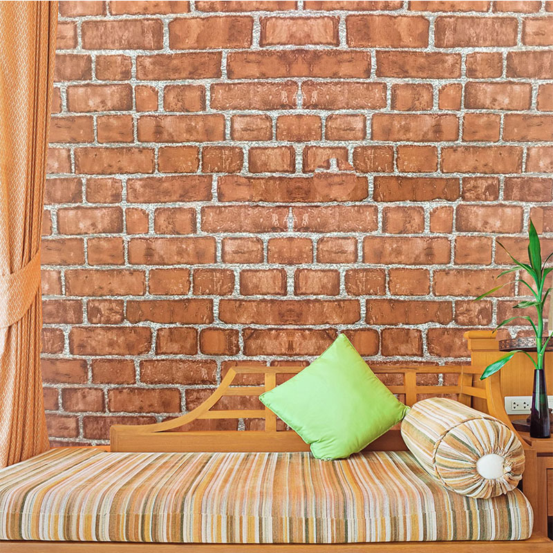 45cm*100cm Red Stone Brick 3D Wallpaper For Living Room Bedroom PVC Waterproof Self Adhesive Removable Wall Sticker Home Decor