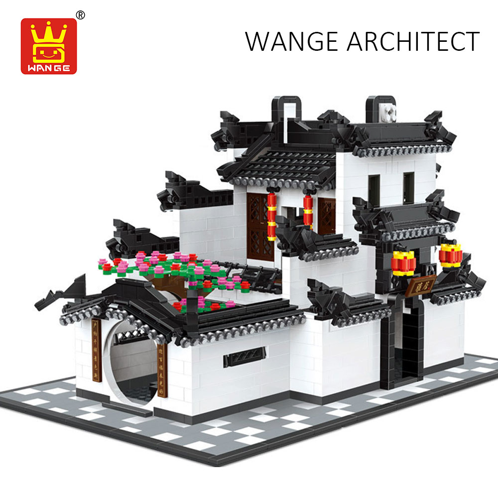WANGE China Hui Style Architecture Old Chinese Building Blocks Compatible Bricks Palace House Model Educational Assembly