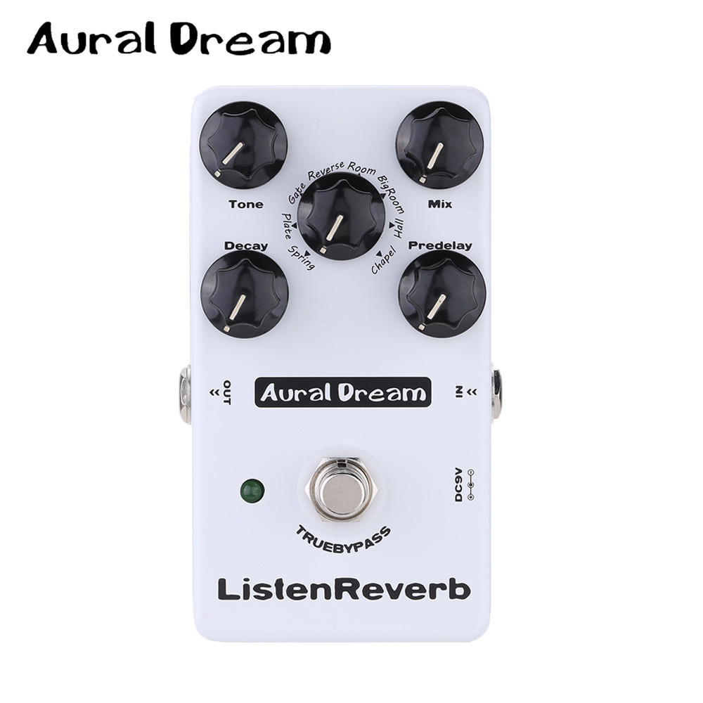 Aural Dream Listen Reverb Guitar Effect Pedal with 8 Controling Algorithms Five knobs and True Bypass mooer ensemble queen bass chorus effect pedal mini guitar effects true bypass with free connector and footswitch topper