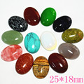 25mm*18mm Mixed Natural Stone Oval CAB Cabochons Opal Rose Quartz Tiger Eye Turquoise Unakite Jasper Malay jade Beads 20PCS