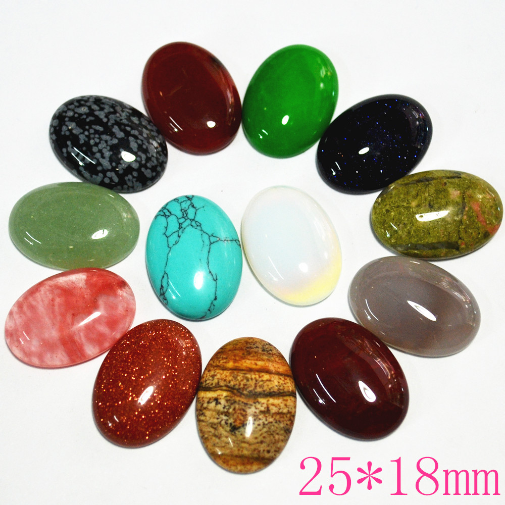 Hot! 25mm*18mm Mixed Natural Stone Oval CAB Cabochons Opal Pink Quartz Tiger Eye Howlite Unakite Jaspers Malay Stone Beads 20PCS