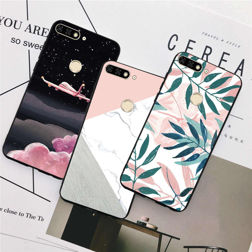 Demelfu Case For Huawei Honor 7C 5.7 inch 7C Pro 5.99 inch 7A Dua-L21 L22 5.45 inch 8C Russia Version Case Cover Silicone Marble