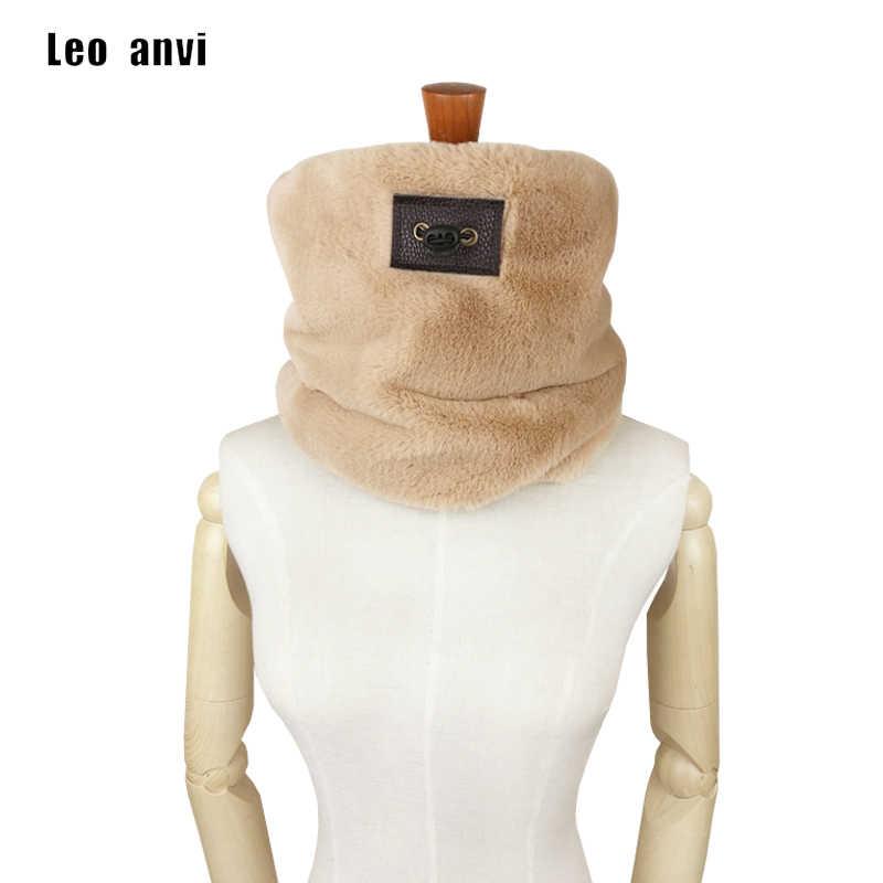 Leo anvi الفاخرة ماركة أوشحة شتوية النساء مصمم فو الفراء وشاح حلقة التفاف الرقبة ارتداء باندانا قناع الدافئة أنبوب الموضة الرجال وشاح