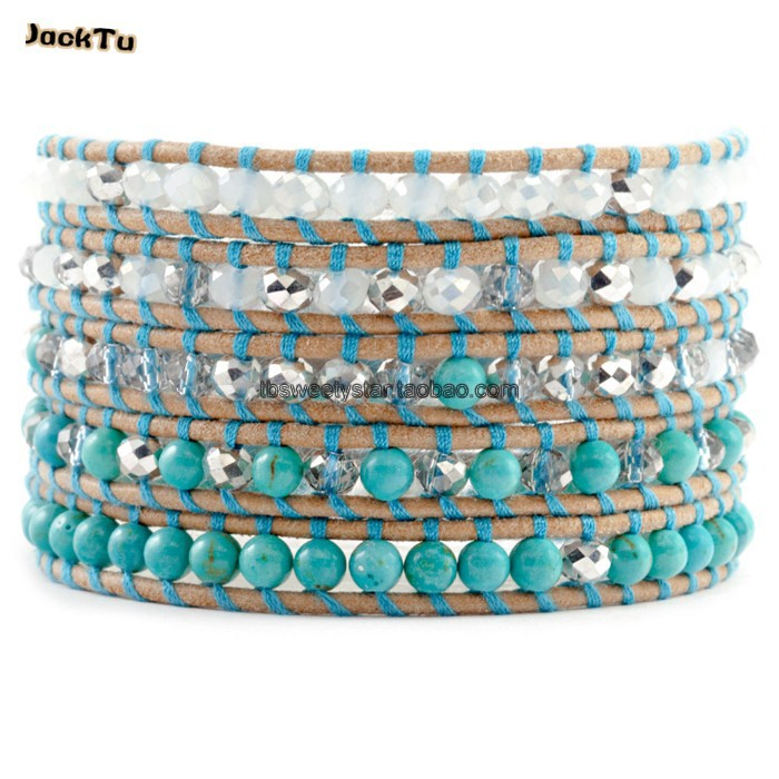 2017 women green beads with crystal leather wrap bracelet