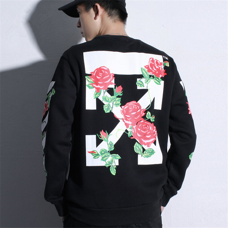 new autumn winter men off wthie hoodies rose arrow printed