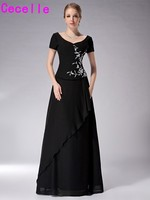 Modest Black A Line Long Chiffon Dresses For Mother Of Bride With Short Sleeves Floor Length