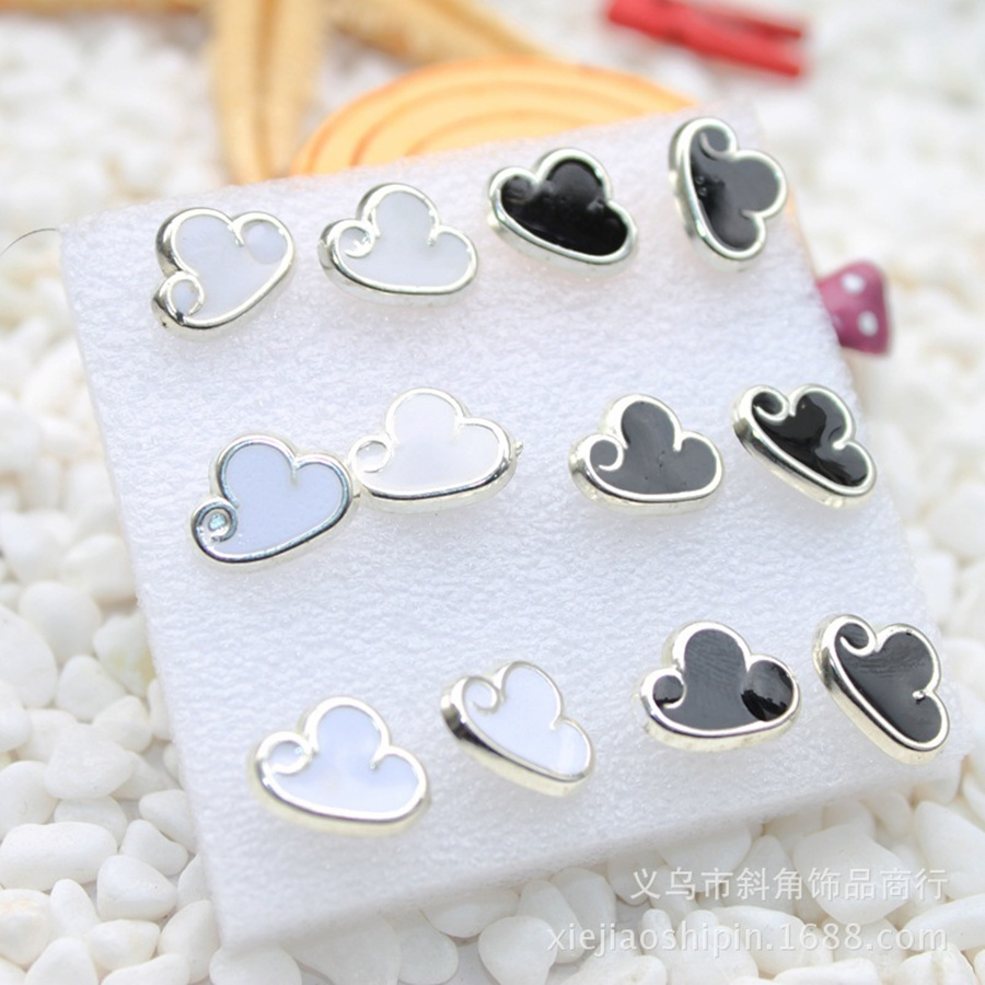 Popular Hot Style Of Wholesale 180 Pairs Cute Little Cloud Plastic Needle  Earrings Concise Prevent Allergy