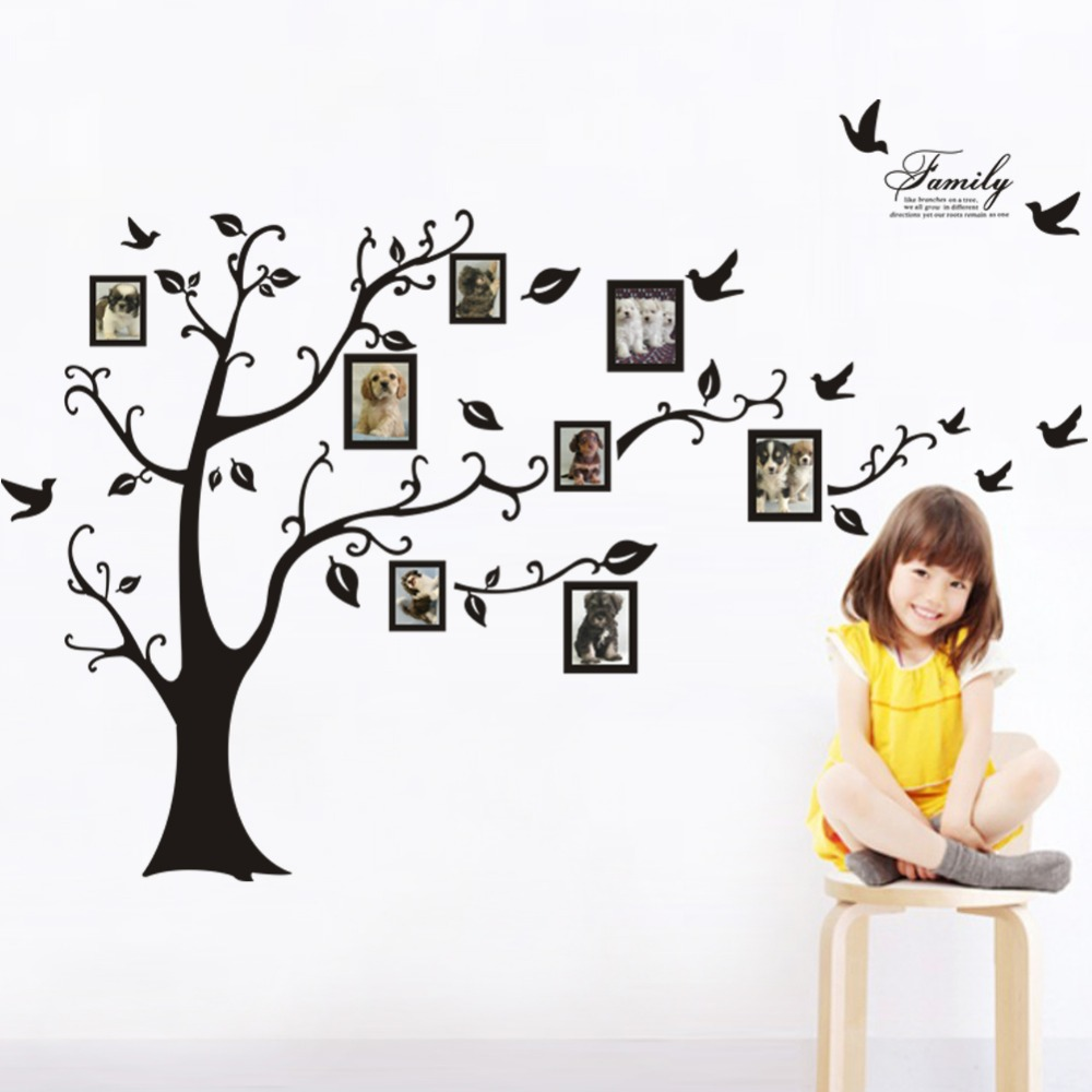 Large Tree Wall Sticker Photo Frame Family DIY Vinyl 3D Wall Stickers Home  Decor Living Room Wall Decals Tree Big Black Poster In Wall Stickers From  Home ... Part 79