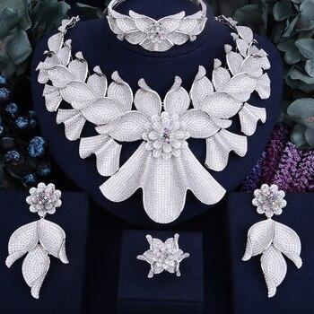 f1ddae6adf3d GODKI 100mm Flor de Super lujo las mujeres nigeriano Naija novia cúbicos  Zirconia collar anillo pendiente brazalete conjunto de joyería de Dubai