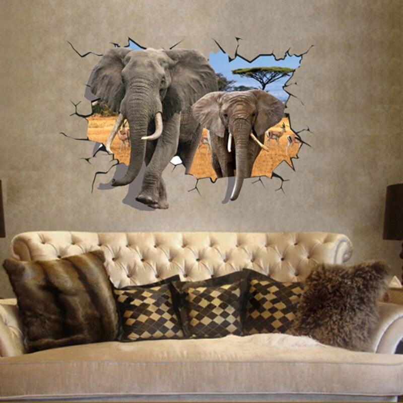 Africain Éléphant 3D Style Decal Wall Sticker Accueil Papier ...