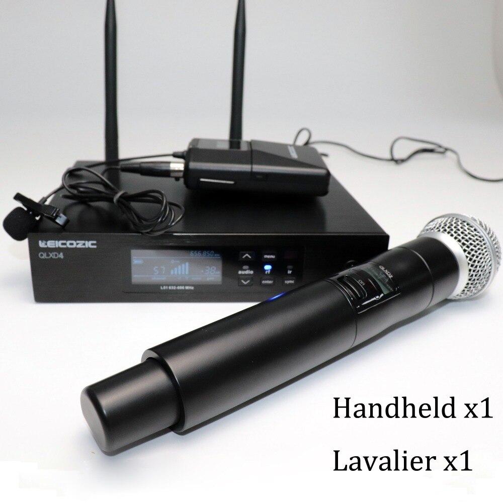 Leicozic True Diversity Microfono Inalambrico Professional With Handheld Mic And Lavalier Microfone Lapel Mic QLXD4 QLDX4 QLXD