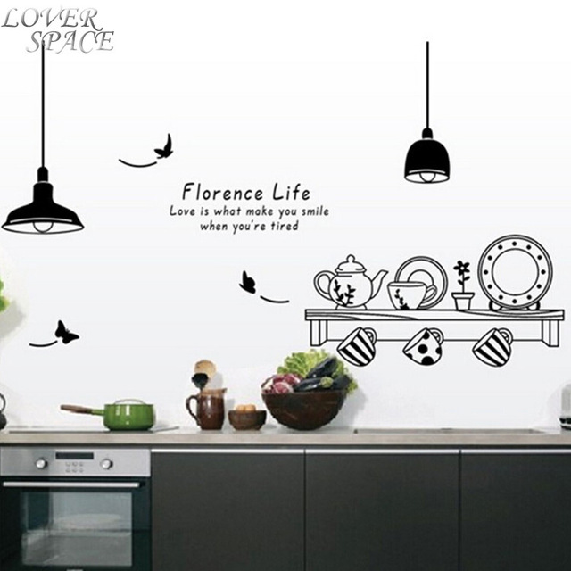 NEW Florence Life Removable Vinyl Wall Sticker Butterfly Kitchen Tea Cup  Cupboard Decorative Stickers Wall Murals Part 61