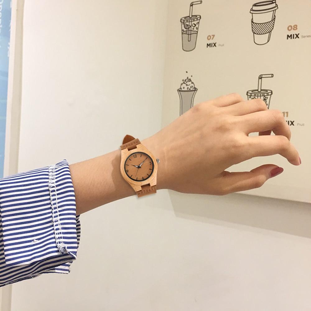 YISUYA Simple Ladies Dress Bambusowy drewniany zegarek na rękę - Zegarki damskie - Zdjęcie 5