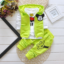 2016 Fall Winter Baby Boys Girls 3 Pieces Clothing Set Hooded Vest Coat+T Shirt+Fashion Pants Mickey Mouse Cotton Children Suits
