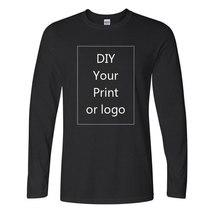 Camiseta de algodón de manga larga con cuello redondo, Camiseta con estampado 3D, personalizada, exclusiva, blanca, Diy