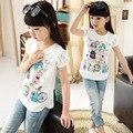 2016 crianças de verão meninas roupas de algodão O pescoço curto da luva t camisas com renda de volta dos desenhos animados camisa básica Crianças casual top tees