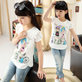 2016 summer children clothes cotton girls O neck short sleeve t shirts with lace back cartoon basic shirt Kids casual top tees