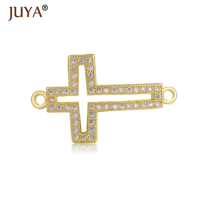 Supplies For Jewelry Wholesale Copper Accessories Micro Inlay CZ Rhinestone Cross Charms Connectors For Jewelry Making Component