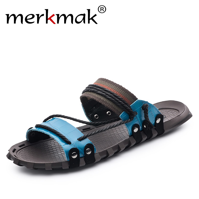 Merkmak 2018 New Arrival Men Summer Slippers Genuine Leather Beach Holiday Shoes Flat Slipper for Men Casual Daily Shoes 2018 new ankle strap sandals for men casual beach holiday shoes male genuine leather fashion thick platform slipper footwear