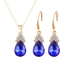 Luxury Brand Full Rhinestone Flower Waterdrop Crystal Pendnat Necklace Earrings Bridal Jewelry Sets(China)