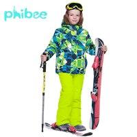 Лыжный костюм Phibee, одежда для маленьких мальчиков, теплые непромокаемые ветрозащитные комплекты для сноуборда, зимняя куртка, детская одеж