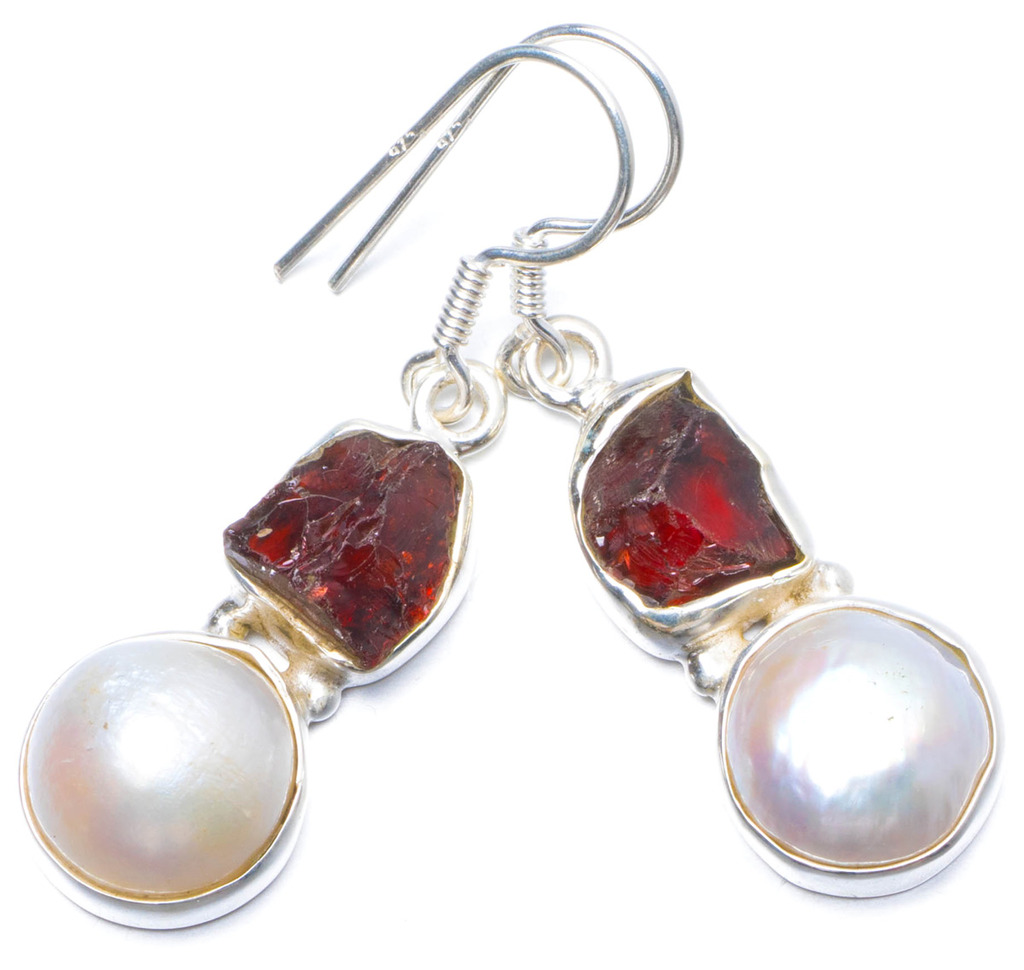 StarGems(tm) Natural River Pearl and Crystal Handmade Unique 925 Sterling Silver Earrings 1.5 Y0335