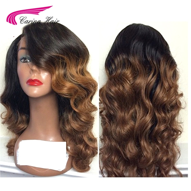 Carina Hair Ombre Color Lace Front Human Hair Wigs with Baby Hair Pre Plucked Hairline Remy Brazilian Hair Loose Wave Wigs