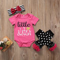 2017 New 3Pcs Newborn Baby Girl Rose Red Cotton Little Sister Striped Headband bowknot Rompers Tops Leggings Outfit Set Clothes