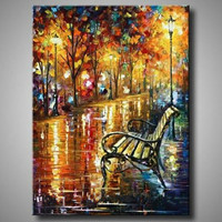 Large Handmade Night Streetscape Paintings Pictures Wall Art Handpainted Abstract Knife Tree Landscape Oil Painting On