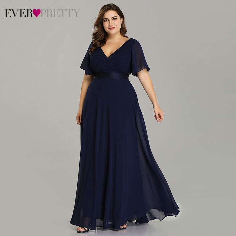 US $30.34 15% OFF Plus Size Evening Dresses Ever Pretty EP09890 Elegant V  Neck Ruffles Chiffon Formal Evening Gown Party Dress Robe De Soiree 2019-in  ...