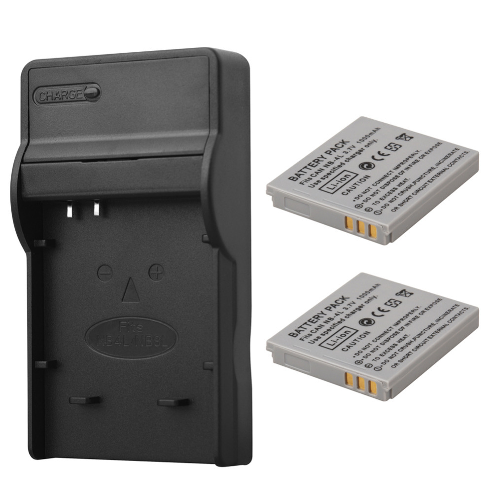 2x1000mah Nb 4l Nb 4l Battery With Charger For Canon Ixus