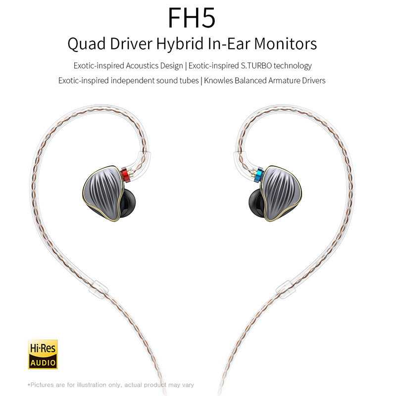 FiiO FH5 Quad Driver Hybrid HIFI IN-Ear Monitors Earphone with Knowles Balanced Armature Drivers Detachable Cable MMCX цена и фото